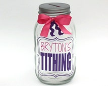 Personalized Tithing Fund, Mason Jar Bank, Coin Slot Lid, Large Quart Size, Baptizm Gift, Tithing Savings Jar, It's Great to Be Eight, CTR