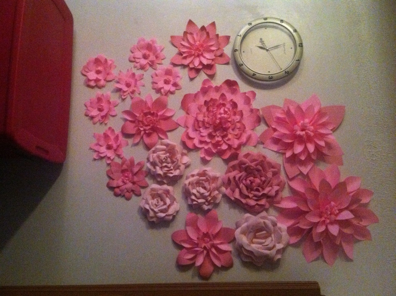 Pink Paper Flowers Wall Backdrop Breast Cancer Awareness