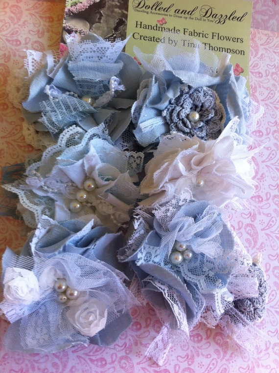 Set of 6, Baby Blue and White/ Baby Shower Decor/ Shabby Chic Decor/ Girls Hairclips/ Brooch Pins/ Magnetic Lampshade Embellishments/ Decor