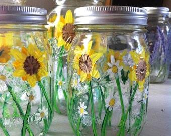 Sunflower and Daisy Painted Mason Jar - FREE DOMESTIC SHIPPING - wedding decor, home decor, home storage, event decor, mason jar decor