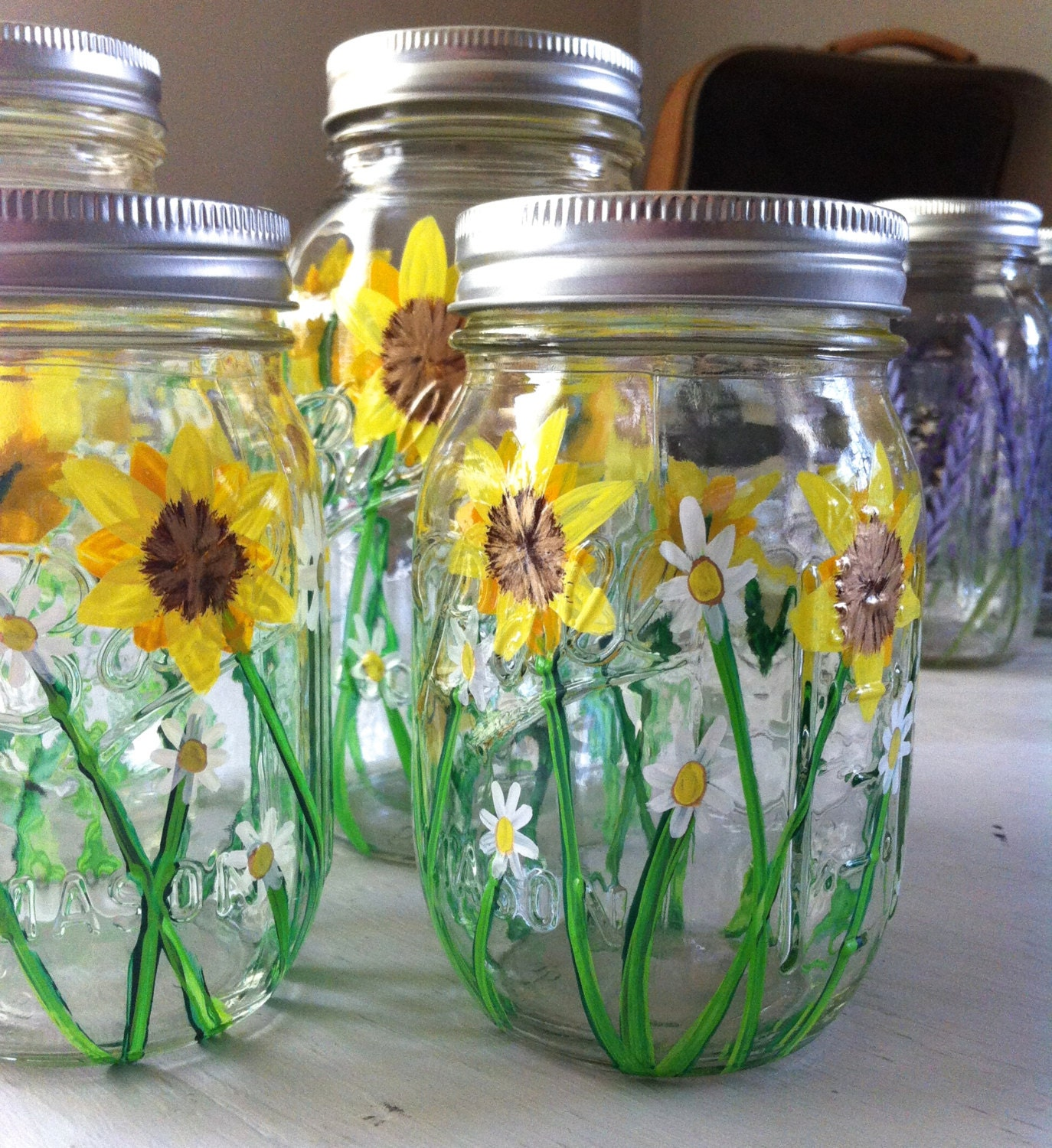 Sunflower Home Decor Sunflower And Daisy Painted Mason Jar Free Domestic Shipping