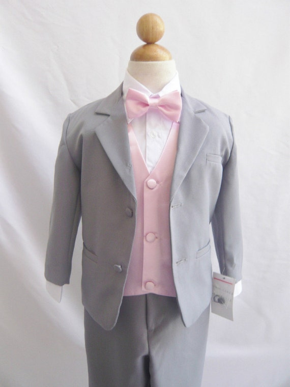 Formal Boy Suit Gray with Pink Light Vest for Toddler Baby Ring Bearer Easter Communion Bow Tie Size 2, 3, 4