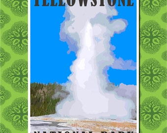 Yellowstone National Park Travel Poster Wall Decor (7 print sizes available)