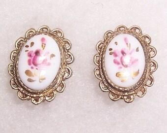 Beautiful Handpainted Floral Porcelain Earrings