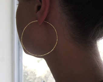 Hammered Hoop Earrings - 14k Gold Filled Large Hoop Earrings - Hoop Earrings Gold - Circle Earrings