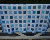 "Crochet Afghan Blanket Blue and White 53"" x 44"" Handmade Throw"