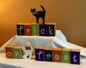 Happy Halloween  Trick or Treat wooden block decoration with Ghost, and Black Cat