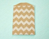 "Clearance Mark Down, 50 Extra Small 2.75 x 4"" White on Kraft Chevron Paper Bags, Party Favor Bags"