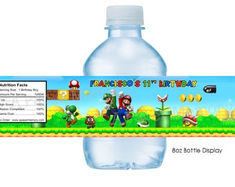 Super Mario Bros Water Bottle Labels DIY Printable