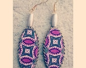 Silver unique handmade oval shaped beaded african print dangler earrings