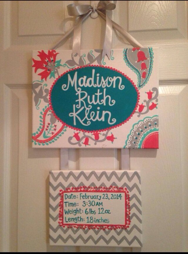Turquoise And Coral Hospital Door Hanger