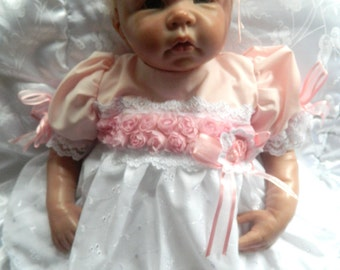 Reborn/Newborn Baby dress+hairband in  white/pink/reborn dolls clothes