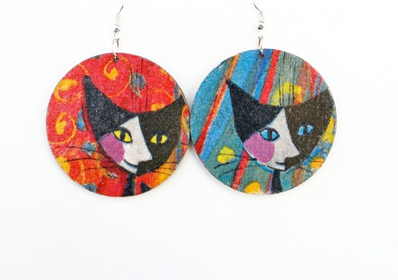 Cats red or blue earrings / wood earrings with decoupage technique / wooden jewelry