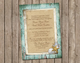 Beach Wedding or Bridal Shower Invitation with Rustic Wood, Shells, Sand Dollars, Starfish and Pearls - printable 5x7