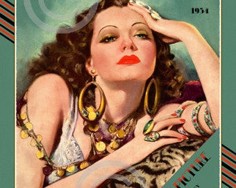 Beautiful Art Deco Classic Print, Icon, Sylvia Sidney, Femme Fatale,Vamp,Tiger Skin,Jewelry,Marland Stone,1934 Giclee Fine Art Print,11x14