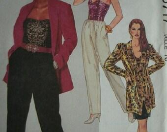 Misses Unlined Jacket, Bustier, Skirt and Pants Size 16 McCalls Petite-Able Pattern 5717 UNCUT 1991