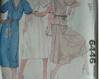 Misses Dress or Top and Skirt  Sizes 18-20 McCalls Carefree Pattern 6446 Vintage 1979 UNCUT Pattern - very nice!