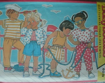 Toddler/Child Jacket, Top, Tank Top, Skirt, Shorts, Pants Size 1-2-3 Butterick Busybodies Pattern 3790 UNCUT Pattern 1989