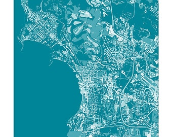 Burlington VT Cityscape Art Print / Vermont Map Wall Art UVM Grad Gift / 8x10 / Personalized
