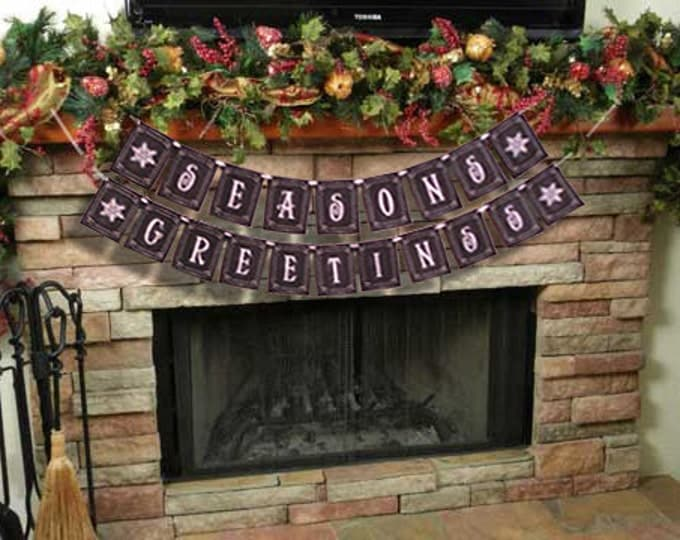 SEASONS GREETINGS large Christmas Banner - Download and Printable - DIY - Chalkboard style - Black and White
