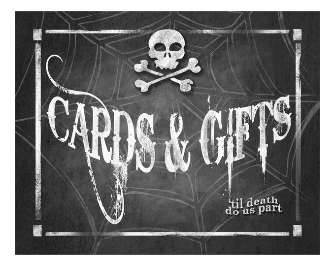 Halloween Wedding CARDS AND GIFTS Sign Printable Digital File - 4 sizes - instant download - Wicked Collection