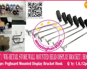 24 piece Brand NEW Metal Pegboard Mounted Head Display bracket / Hook- FREE SHIPPING