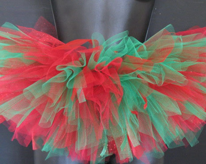 Vibrant Red and Emerald Green Holiday Tutu