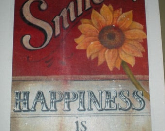 """SALE* Quote """"Smile...Happiness is contagious"""" Canvas print - Size 25.4 x 30.5 cm - Hand made"""