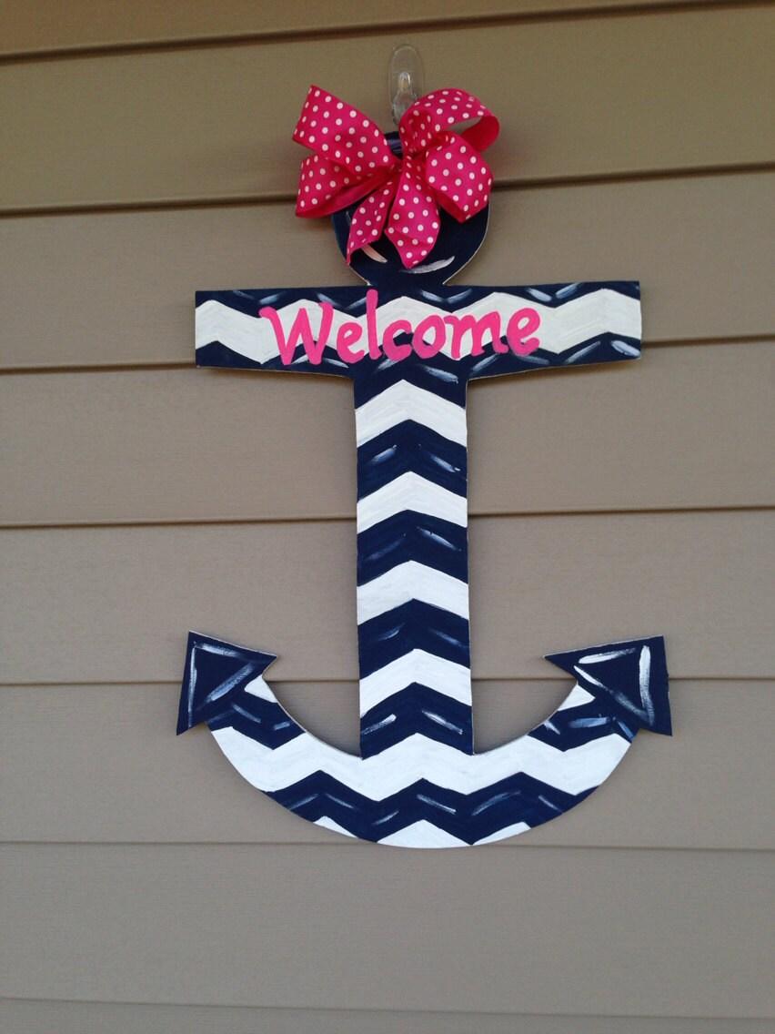 Chevron anchor anchor door hanger beach decor nautical for Anchor door decoration