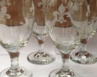 Set of 4 - Fleur De Lis Engraved Wine Glasses