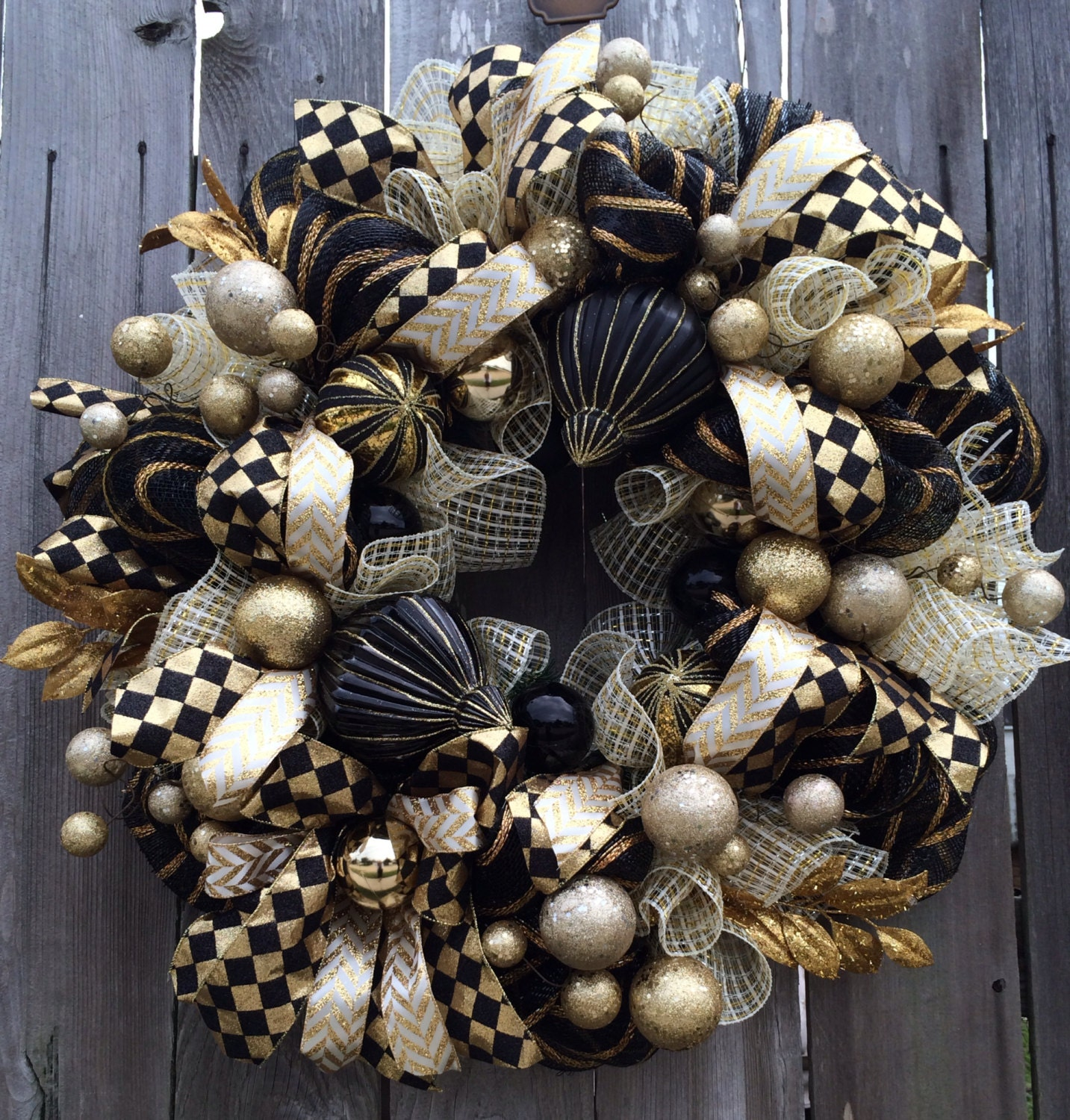 Stunning Black Gold Christmas Wreath Holiday Wreath