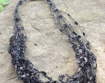 Hand Crochet Jewelry Necklace - Midnight Black