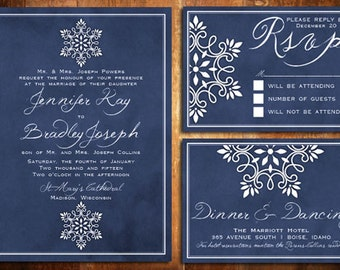 DIY Printable Snowflake Winter Wedding Invite set