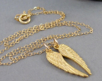 Angels Wings,Necklace,Gold Necklace,Gold Wing,Angel Wing,Angel Wing Necklace,Two Wings,Angel Wing Jewelry,Handmade Seamaidenjewelry.