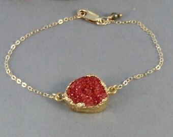 Red Druzy,Red Drusy,Agate,Bracelet,Ruby Druzy,Gold Druzy Bracelet Necklace,Red Stone,Red Druzy,Red Bracelet,Red,Stone,Druzie,Druzy,Drusy