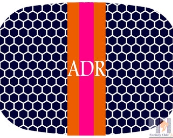 Modern navy honey comb platter with orange and pink accent stripe. The perfect gift- entertain with style! Dishwasher safe! Custom gifts!!