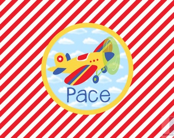 Boys airplane monogrammed placemat. Laminated and custom made. Make meal time fun and simple! Custom colors available! Hostess gifts!