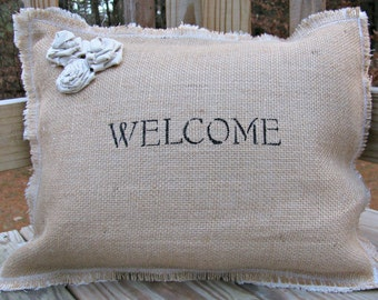Burlap Pillows, Rustic Decor