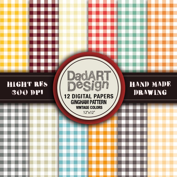 Gingham pattern vintage colors digital paper by DADARTDESIGN
