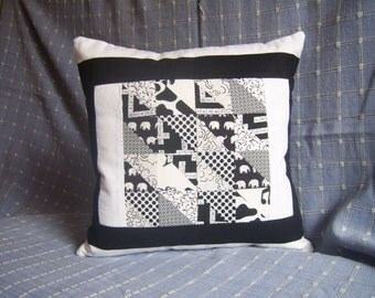 Black & White Cushion Cover, Patchwork Cushion, Monochrome Cushion, Decorative Pillow, Cotton Fabrics, Home Decor, New Home Gift