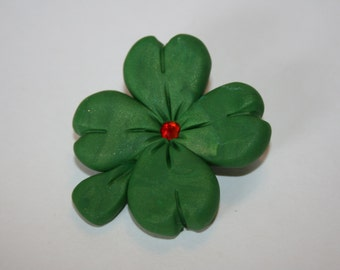 Shamrock Pin / Polymer Clay / Handmade / St. Patricks Day