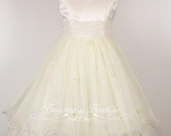 IVORY White Flower Girl Dress - First Communion Junior Bridesmaid Flower Girl Dresses (Ets0141)