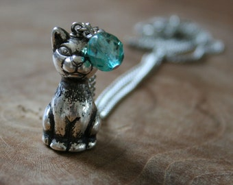 Cat - LAST ONE! a necklace with a cute little cat and teal colored bead. Limited Edition