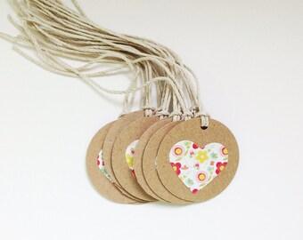 KRAFT Heart FLOWER Gift Tags