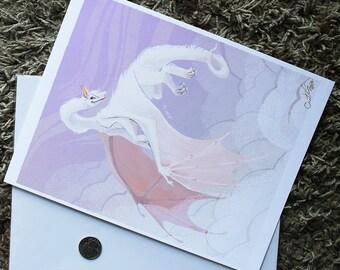 "8x10"" White Flying Dragon fine art print"