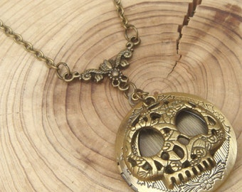 Antique Brass Skull Locket Necklace Victorian Jewelry Gift Vintage Style