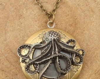Antique Brass Octopus Locket Necklace Victorian Jewelry Gift Vintage Style