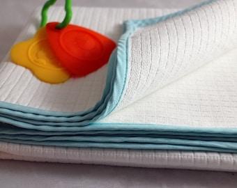50% OFF White Baby Blanket Pique, Cotton , Spring, Summer, Fall Season
