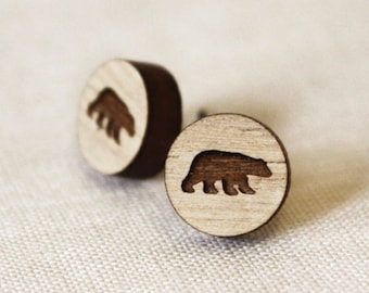 Bear - Wood Earring Studs with Sterling Silver posts - laser cut