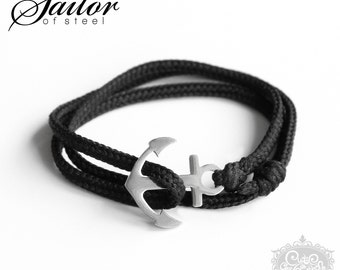 SAILOR of steel - black wrap bracelet anchor stainless steel